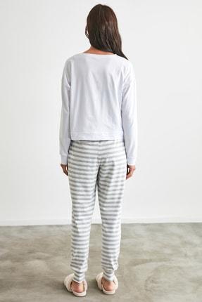 TRENDYOLMİLLA Gri Ayı Baskılı Örme Pijama Takımı THMAW21PT0302 4
