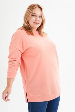 LC Waikiki Kadın Mercan Büyük Beden T-Shirt 3
