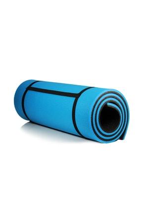 Walke 16 Mm Pilates Kamp Matı Mavi Siyah Taşıma Askılı 4