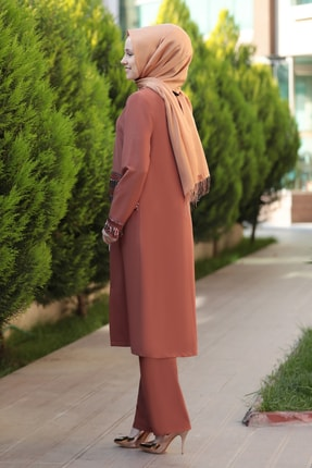 Emsale Kadın Taba Halin Ceket Pantolon Takım 1