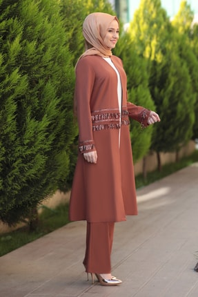 Emsale Kadın Taba Halin Ceket Pantolon Takım 2