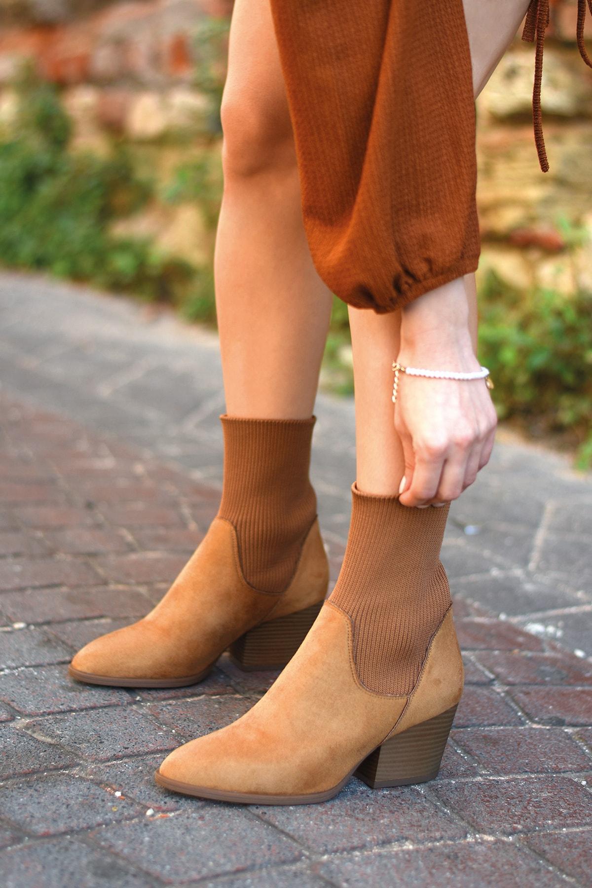 Bej Ayakkabı Kadın Kahverengi Vera Camel Süet Bot