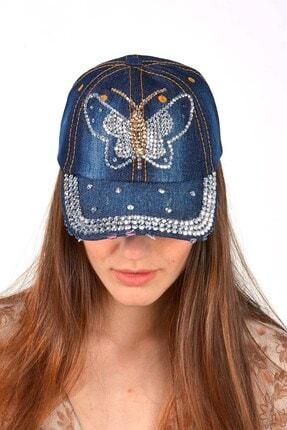 Mossta Kadın Lacivert Kelebek Taşlı Kot Şapka 1