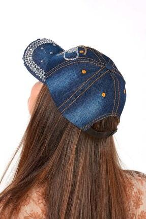 Mossta Kadın Lacivert Kelebek Taşlı Kot Şapka 2