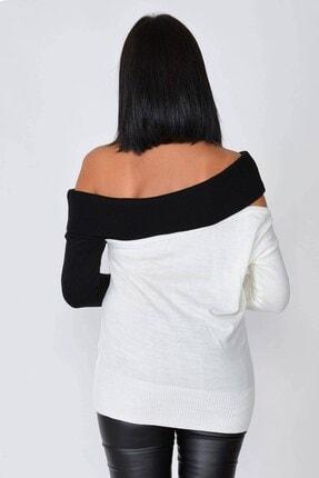 Mossta Kadın Ekru Kayık Yaka Triko Bluz 2