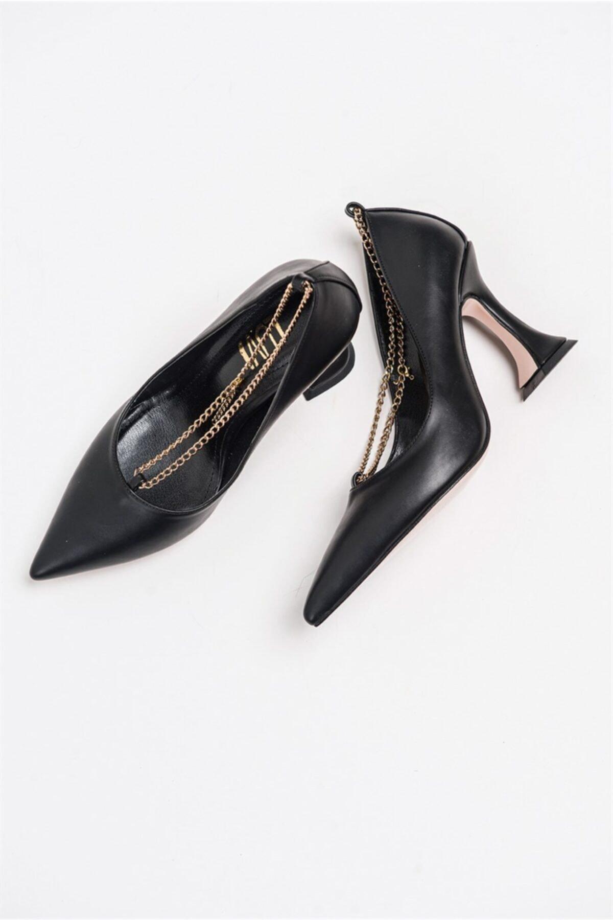 LuviShoes Kadın Siyah Cilt Topuklu Ayakkabı 8036809