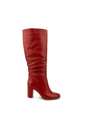 Emel Ayakkabı Kadın Kırmızı Modern Klasik Körüklü Fermuarsız Rahat Günlük Çizme 1