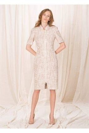BİRELİN Kadın Pembe Yarım Kollu Tüvit Elbise 0