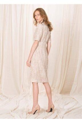 BİRELİN Kadın Pembe Yarım Kollu Tüvit Elbise 2