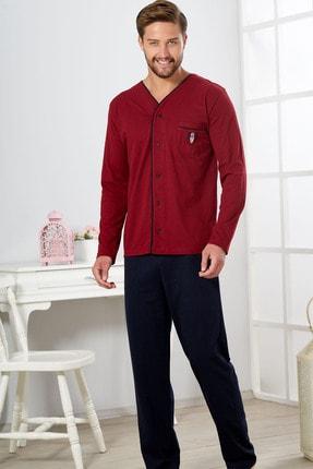 Erkek Bordo Lacivert 4 Mevsimlik Pamuklu Önden Düğmeli Büyük Beden Pijama Takımı resmi