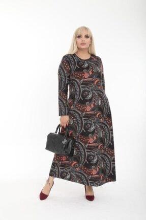 Şirin Butik Kadın Büyük Beden Yaka Pervazlı Elbise 0