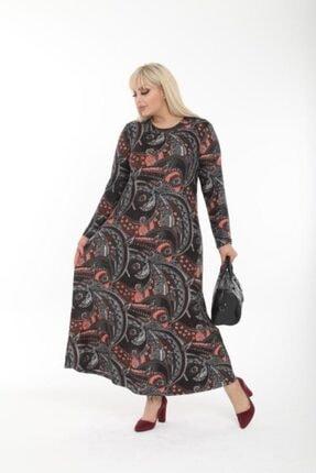 Şirin Butik Kadın Büyük Beden Yaka Pervazlı Elbise 1