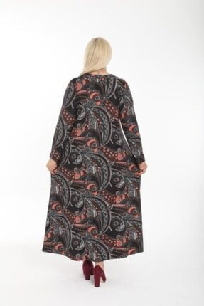 Şirin Butik Kadın Büyük Beden Yaka Pervazlı Elbise 4