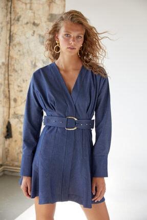 Urban Muse Kadın Mavi Kemerli Denim Elbise 1