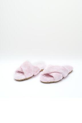 OCT Shoes Kadın Pembe Çapraz Peluş Ev Terliği 1026 1