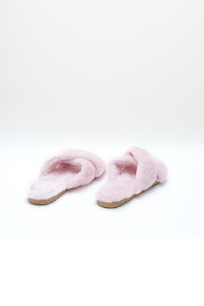 OCT Shoes Kadın Pembe Çapraz Peluş Ev Terliği 1026 3