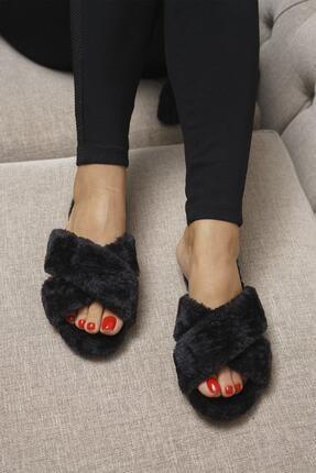OCT Shoes Kadın Siyah Çapraz Peluş Ev Terliği 1026 0