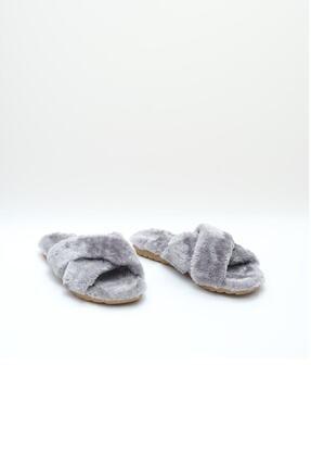 OCT Shoes Kadın Gri Çapraz Peluş Ev Terliği 1026 2