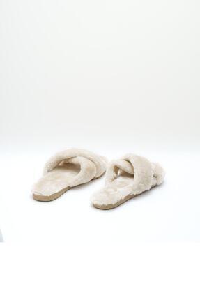 OCT Shoes Kadın Bej Çapraz Peluş Ev Terliği 1026 3