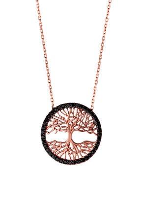 Kadın Rose Tuba Ağacı Tasarım Gümüş Kolye TBKLY0151