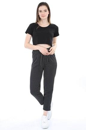 Mossta Kadın Siyah Kuşaklı Çizgili Pantolon 1