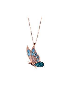 Afrodit Silver Kadın Rose Kelebek Tasarım Gümüş Kolye 0