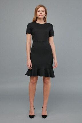 Journey Kadın Siyah Sıfır Yaka- Yaka Ve Bel Kesiti Biye Kombinli, Etek Altı Kısa Volanlı Elbise 1