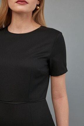 Journey Kadın Siyah Sıfır Yaka- Yaka Ve Bel Kesiti Biye Kombinli, Etek Altı Kısa Volanlı Elbise 2
