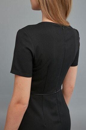 Journey Kadın Siyah Sıfır Yaka- Yaka Ve Bel Kesiti Biye Kombinli, Etek Altı Kısa Volanlı Elbise 3