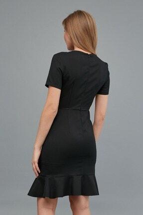 Journey Kadın Siyah Sıfır Yaka- Yaka Ve Bel Kesiti Biye Kombinli, Etek Altı Kısa Volanlı Elbise 4