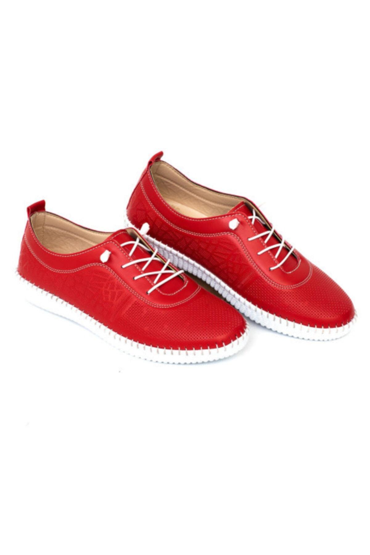 MelikaWalker Kadın Kırmızı Full Confort Ortopedik Taban Esnek Rahat Desenli Delikli Hava Alabilen Ayakkabı