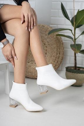 Moda Değirmeni Beyaz Cilt Kadın Şeffaf Topuk Bot Md1050-116-0001 1