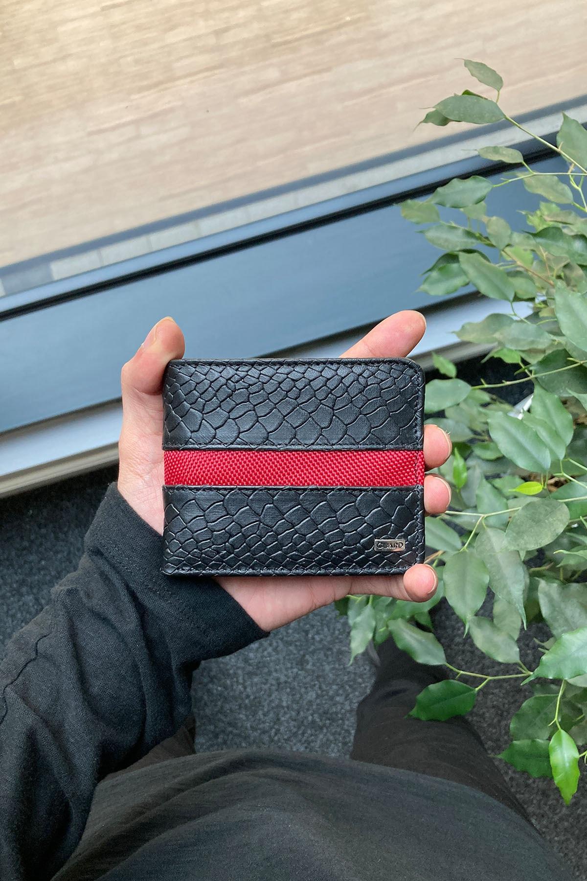 Kırmızı Şeritli Ve Piton Baskılı Deri Erkek Cüzdanı - Siyah