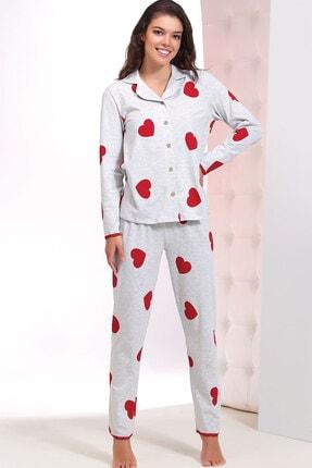 ZEY Kadın Kırmızı Baskılı Pijama Takım 0