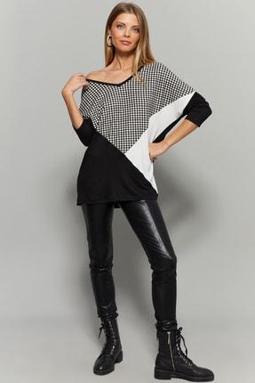 Cool & Sexy Kadın Siyah Kazayağı Desenli Bloklu Bluz TZ129 1