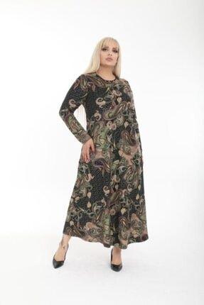 Şirin Butik Kadın Haki Büyük Beden Yaka Pervazlı Elbise 1