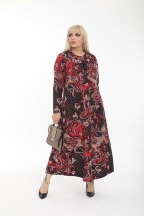 Şirin Butik Kadın Kırmızı Büyük Beden Yaka Pervazlı Elbise 1