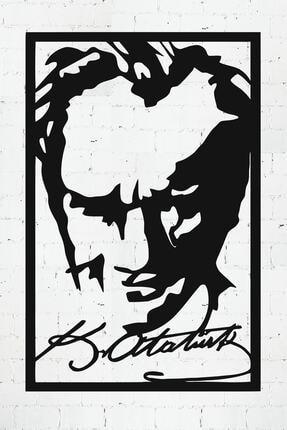 PAYİDARTS Imzalı Atatürk Portre Dekoratif Lazer Kesim Metal Duvar Tablo 45x70cm 0