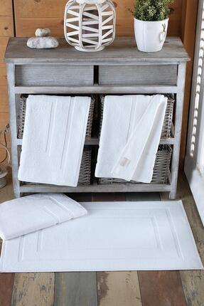 Varol Beyaz 4 Adet Odelia Serisi Ayak Havlu 50x70 250gr 0