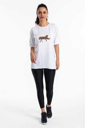 Mossta Kadın Beyaz Yırtmaçlı Salaş T-shirt 2