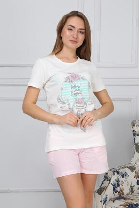 Mossta Kadın Ekru Kısa Kol Şortlu Pijama Takımı 0