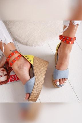 Limoya Amaia Bebe-Mavi Limon Portakal Süet Zımba Detaylı Dolgu Topuklu Sandalet 1