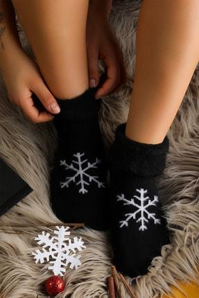 Mudiso Unisex Kırmızı Siyah Hediye Kutulu 2'li Termal Kar Tanesi Desenli Çorap 1