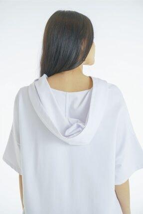 VorNişantaşı Kadın Beyaz Tasarım Kapşonlu Elbise 0