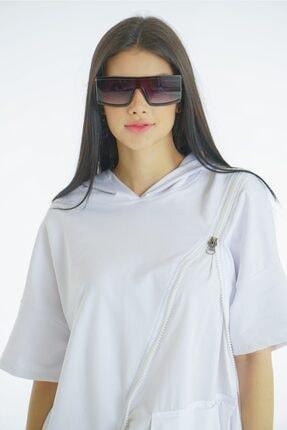 VorNişantaşı Kadın Beyaz Tasarım Kapşonlu Elbise 3