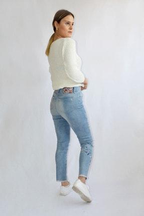 Denim FORM Kadın Mavi Çiçek Desenli Jeans Frm3481tn 3
