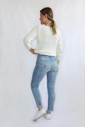 Denim FORM Kadın Mavi Çiçek Desenli Jeans Frm3481tn 4