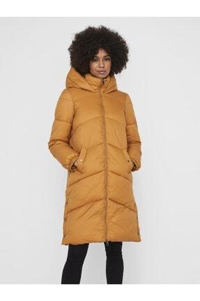 Vero Moda Kadın Taba Uzun Kapüşonlu  Şişme Mont 10232610 VMUPSALA 0
