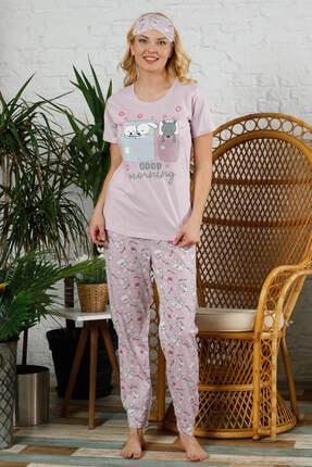 Mossta Kadın Pembe Kısa Kol Pijama Takım 0