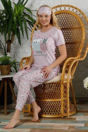 Mossta Kadın Pembe Kısa Kol Pijama Takım 1